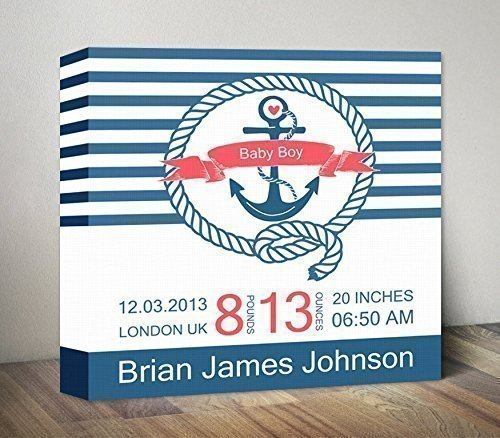 anchor baby birth details nautical birth announcement canvas baby birth print anchor baby stats birth