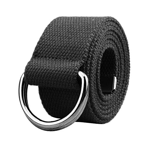 Toimothcn Simple Canvas Belt Double D-Ring Strape Belt Men Women Students Lovers Waistband(Dark Gray,One)