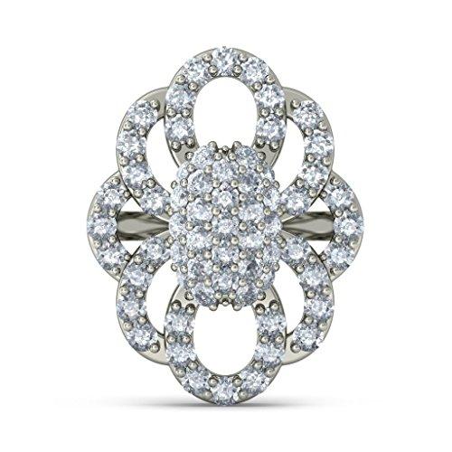 Or blanc 18K 0.702CT TW Round-cut-diamond (IJ | SI) Boucles d'oreille à tige