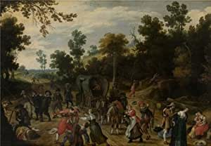 High Quality Polyster Canvas ,the Imitations Art DecorativePrints On Canvas Of Oil Painting 'Sebastiaan Vranckx,Landscape With Travellers Attacked By Robbers,1573-1647', 30x43 Inch / 76x110 Cm Is Best For Kitchen Artwork And Home Decoration And Gifts