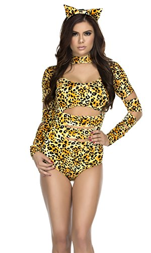 Forplay Women's Charming Cheetah Bodysuit with Tail and Headband, Brown, Medium/Large