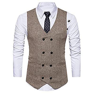 Nevera Handsome Men Formal Jacket Tweed Check Double Breasted Waistcoat Retro Slim Fit Suit for sale