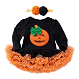 POIUDE Clearance Girl Clothes Baby Boy Girl Halloween Long Sleeve Pumpkin Bow Party Clothes Dresses(Black, 3-6Months)