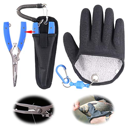 Hilitchi Magnet Fishing Gloves + Stainless Steel Fishing Pliers Multifunctional Hunting Glove and Stainless Steel Hook Removers Pliers with Sheath and Lanyard (Medium, Right)
