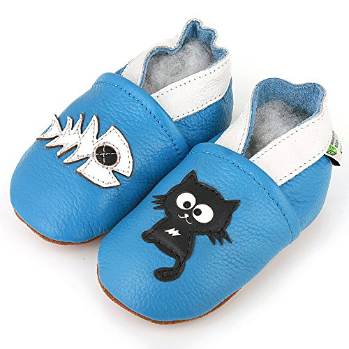 AUGUSTA BABY Baby Boys Girls First Walker Soft Sole Leather Baby Shoes - Genuine Leather Cat & fish