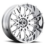 Vision Wheel Rocker Style: 412 RWD Finish: Chrome. Wheel Size Inches: 20X12PCD: 6-135Load Rating Lbs. 2400 Offset MM: -51