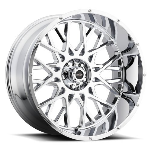 Vision Wheel Rocker Style: 412 RWD Finish: Chrome. Wheel Size Inches: 20X12PCD: 5-139.7Load Rating Lbs. 2400 Offset MM: -51 by Vision (Image #1)