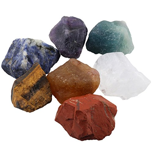 mookaitedecor Healing Crystals Set,Natural 7 Chakra Raw Stones Kits for Reiki,Balancing ()