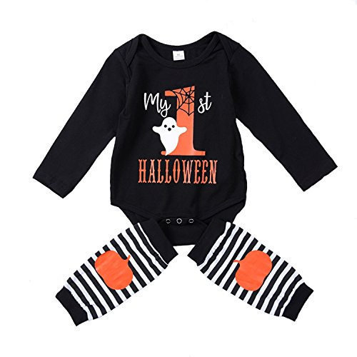 My First Halloween Baby Girl Boy Clothes Newborn Baby Outfits Leg Warmer Sets 2PC (Black, 3-6M) -