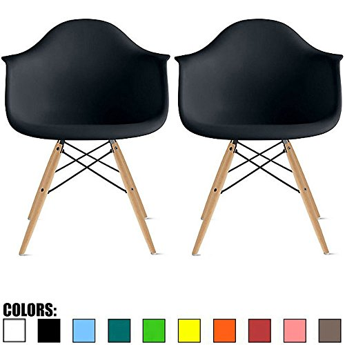 2xhome - Set of 2 Black Mid Century Modern Contemporary Vintage Molded Shell Designer with Arms Plastic Eiffel Chairs Natural Wood Legs DAW Dining Accent Conference Room Desk Ergonomic No Wheels