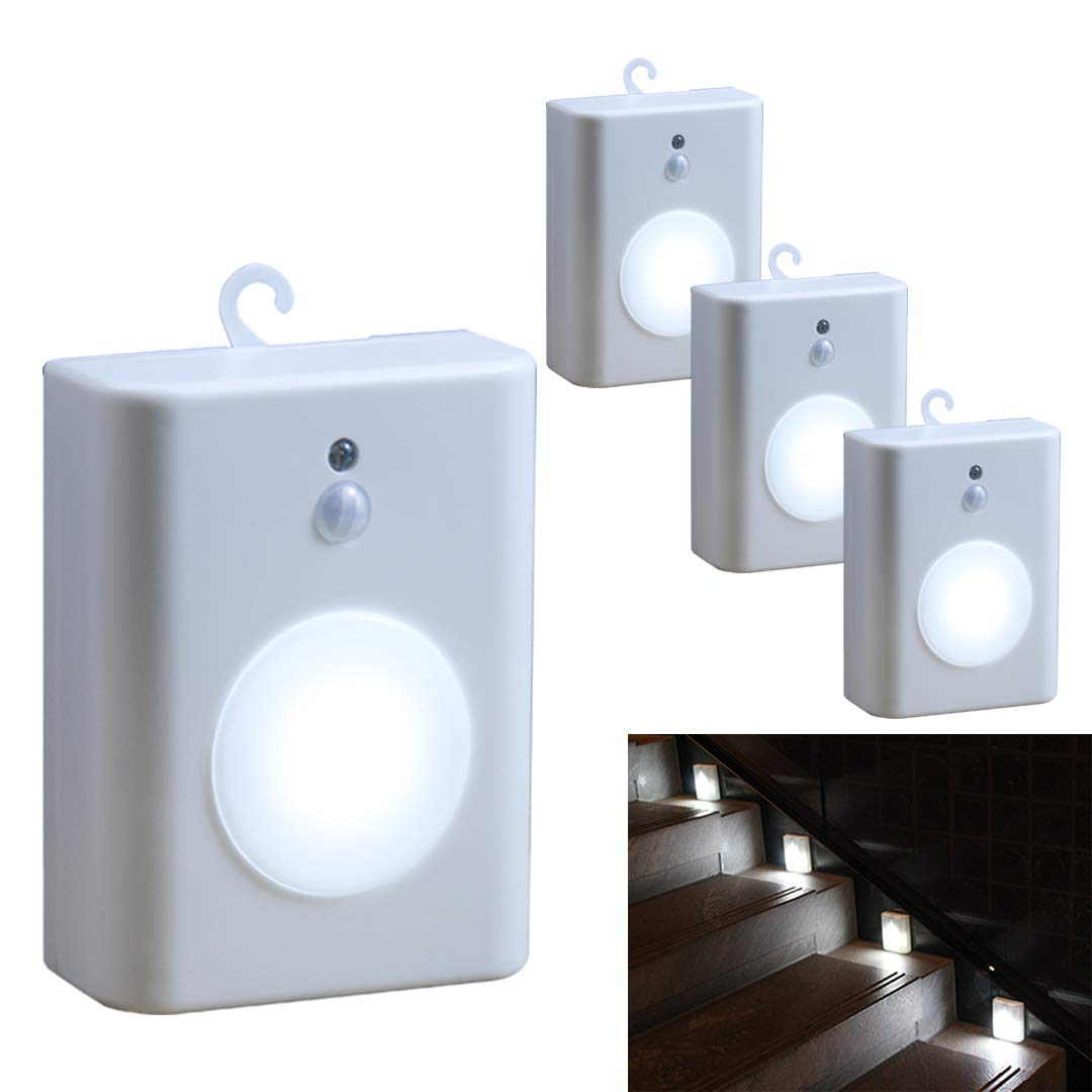 WRalwaysLX 2018 Latest Motion Sensor LED Stair Light Stick-Anywhere Nightlight for Stairway,Hallway,Closet,Bathroom(Cool White 4PC)