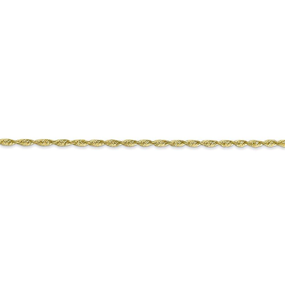 10k Yellow Gold Lightweight Diamond-Cut Rope Chain Ankle Bracelet