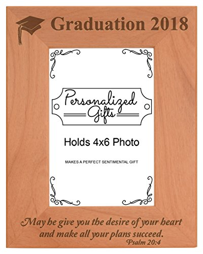 Graduation Gifts for Men 2018 Grad May He Make All Your Plans Succeed Graduation Picture Frames Natural Wood Engraved 4x6 Portrait Picture Frame (Preschool Graduation Ideas)