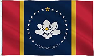 SOULBUTY New Mississippi State Flag 3x5 Outdoor, in God We Trust Flag, Magnolia Flag, 150D Polyester Fabric, Brass Grommets, Fading Resistance