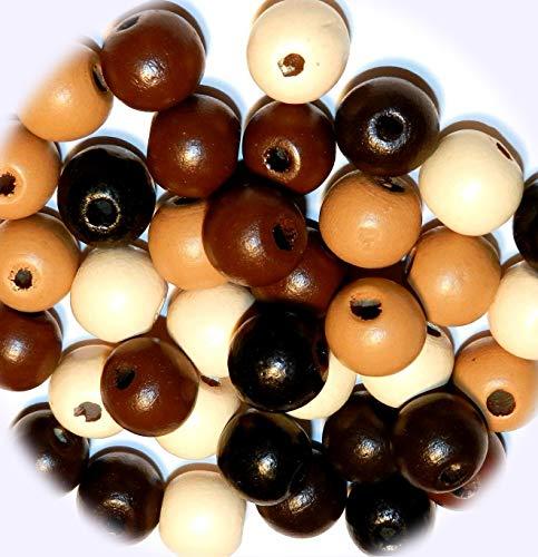 New Earthtone Brown Assortment 14mm Semi- Round Wood Jewelry-Making Bead Mix 35pc DIY Craft Supplies for Handmade Bracelet - Earthtone Gems
