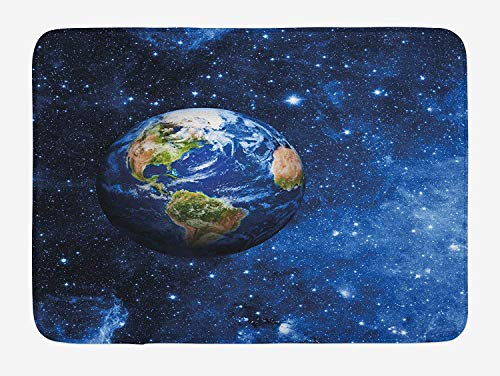Space Bath Mat, Outer View of Planet Earth in Solar System with Stars Life on Globe Themed Image, Plush Bathroom Decor Mat with Non Slip Backing, 23.6 W X 15.7 W Inches, Blue Green