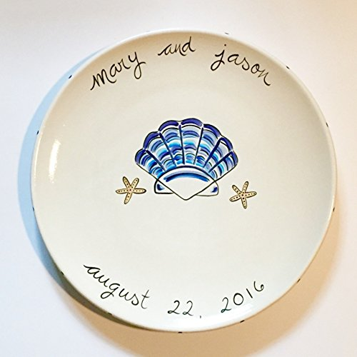 custom ceramic wedding platter for beach themed weddings by suzaluna