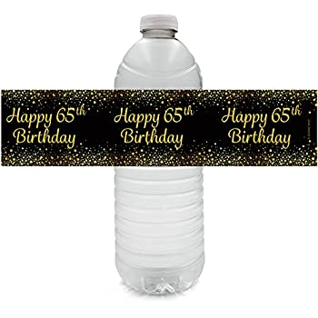 Black And Gold 65th Birthday Party Water Bottle Labels 24 Count