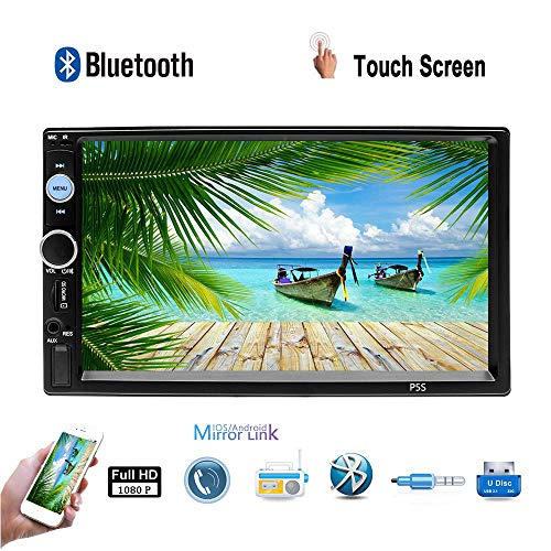 "Double Din 7"" HD Car Stereo MP5 Radio Video Player Built-in Bluetooth 4.0 Mirror Link Auto-Radio FM AUX USB SD Resistive Touch Screen with Steering Wheel Control + Rear View Camera"