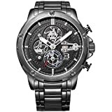 BUREI Men Chronograph Sports Wrist Watches with Black Dial Metal Bracelet