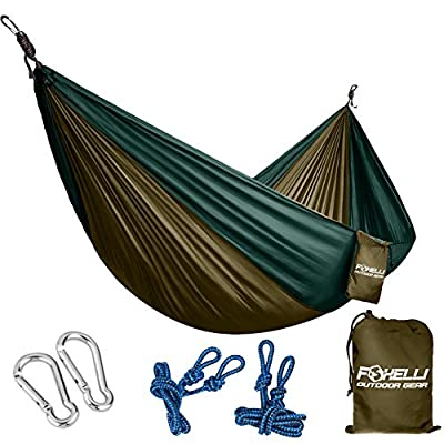 Foxelli #1 Double & Single Camping Hammock - Ultralight Nylon Portable Parachute, Best for Light Backpacking Survival Beach Travel & Backyard Fun - Tree Ropes and Carabiners Included, 2 - Person