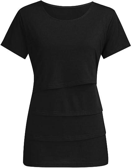 Women Pregnancy Solid Ruffle Short Sleeve Top Nusring Maternity Blouse Tee Shirt