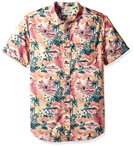 Billabong Men's Sundays Floral Short Sleeve Shirt Coral Medium