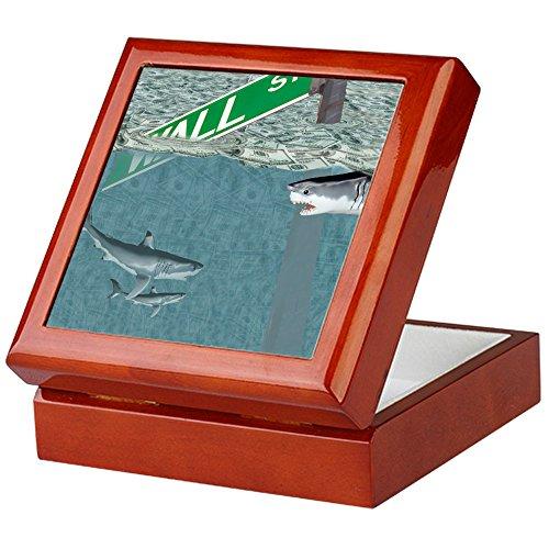 CafePress - Sharks Of Wall Street - Keepsake Box, Finished Hardwood Jewelry Box, Velvet Lined Memento (York Cigar Box)