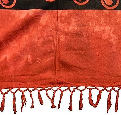 Couverture indienne Tenture Yin Yang Rouge Noir 230x215cm coton Ameublement D/écoration Textile Dessus-de-lit