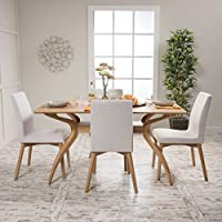 Katherine Mid Century Wood Finish 5 Piece Dining Set (Oak/Light Beige)