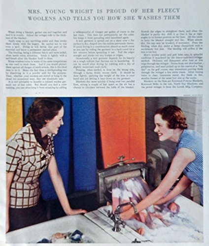Wringer Washer and how to use it, 30's Vintage Print Ad. Color Illustration (Margaret Bourke White) Original Rare 1935 Delineator Magazine Art (Old Wringer Washer compare prices)