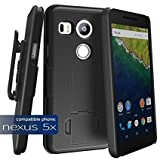 Google Nexus 5X Shell Combo Case w/ ClikLock Belt Clip Holster - Black (By Encased®)