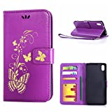 MOONCASE Xperia Z2 Case, Bronzing Butterfly Pu Leather Wallet Pouch Etui Flip Kickstand Case Cover for Sony Xperia Z2 Bookstyle Folio [Shock Absorbent] TPU Case with Photo Frame Purple