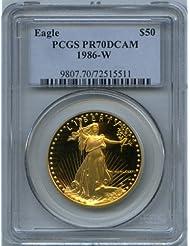 1986 W Gold Eagles Fifty Dollar PCGS PR-70