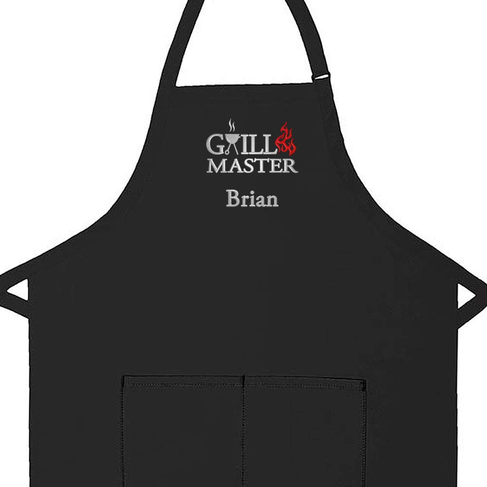 Personalized Apron Embroidered Grillmaster Design Add a Name, Made in The USA, Commercial Quality Adult Apron with Extra Long Ties, 2 Pockets and Adjustable Neckstrap (Black, Long 24'' W x 34'' L) by The Apron Place