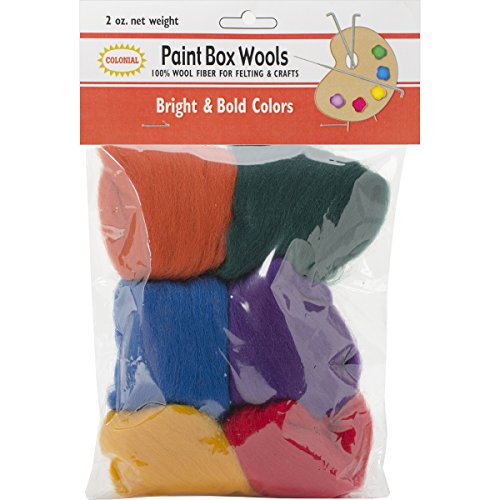 Colonial Needle Paint Box Wools, 0.33-Ounce, Bright and Bold, Red/Gold/Green/Royal/Purple/Orange, 6-Pack