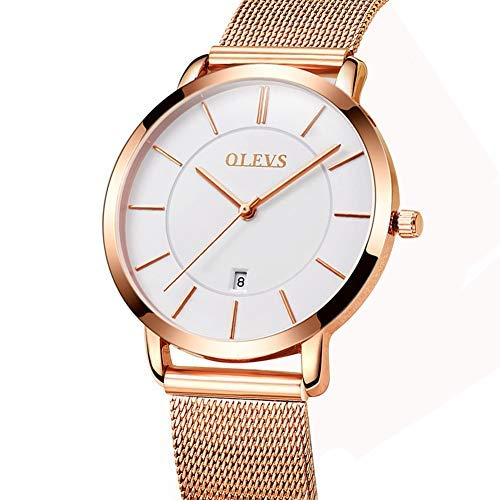 Womens Watches Japanese Quartz Analog Wrist Watch,Women's Rose Gold-Tone Stainless Steel Bracelet Watch,Ultra Thin Lady Watch Bands Women Water Resistant Analog Wrist Watches White Dial with Date