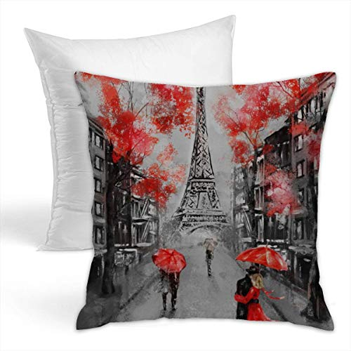 Osvbs Oil Painting Paris Europe City Landscape France Wallpaper Eiffel Tower Creative Home Double-Sided Printed Cushion Decorative Pillowcase with Pillow Invisible Zipper 16.5
