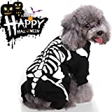 GreaSmart Halloween Spider Skeleton Bat Wings Costume for Pets Dogs Cats Skull Ghost Puppy Animal Cosplay Apparel Clothes Pets Dress up Hoodie Coat for Small Medium Dogs/Kitten Outfits
