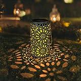 Petrala Solar Lantern Outdoor Hanging Vintage White Metal Decorative lanterns Lights with stake for Garden Patio Landscape