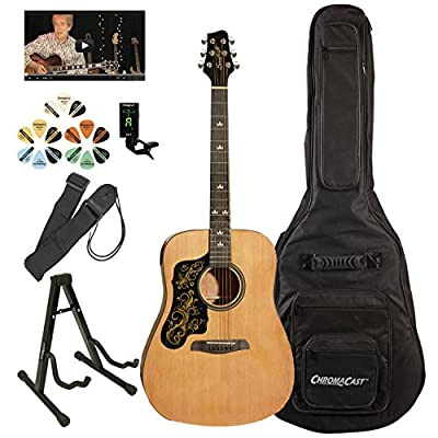 Sawtooth ST-LH-ADN-D-KIT-3 Acoustic Guitar Pack, Left Handed, Natural with Graphic