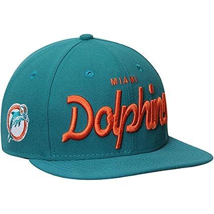 45b17a60d1d48 Amazon.com   Miami Dolphins Aqua Historic Script Snapback Hat   Cap    Sports   Outdoors