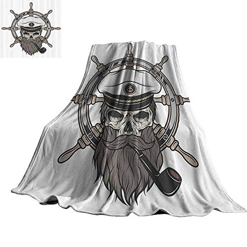 """Skulls Decorations Faux Fur Throw Blanket Captain Pirate Skull in Sailor Hat with Beard and Pipe Nautical Theme Print 60"""" Wx80 L Brown White Grey"""