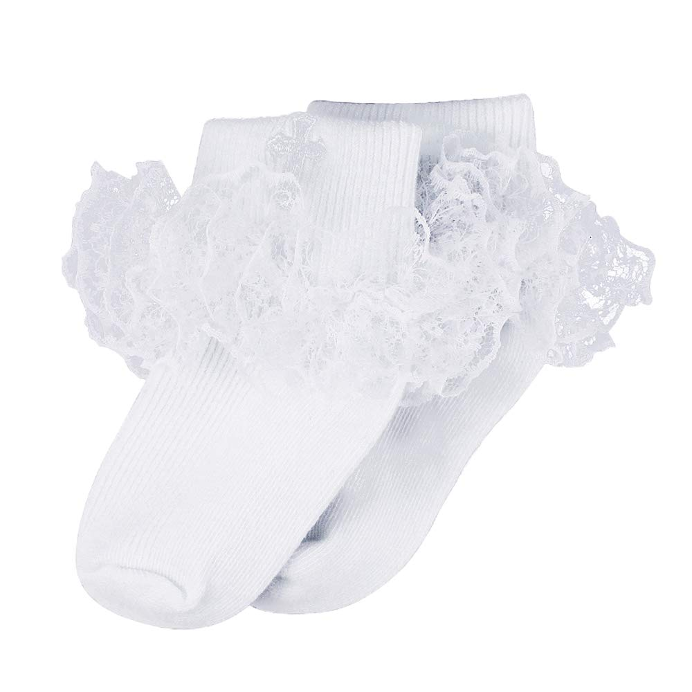 Infant Baby Boys Girls Turn Cuff Cotton Baptism Christening White Embroidered Cross Socks ESTAMICO 1808-CC