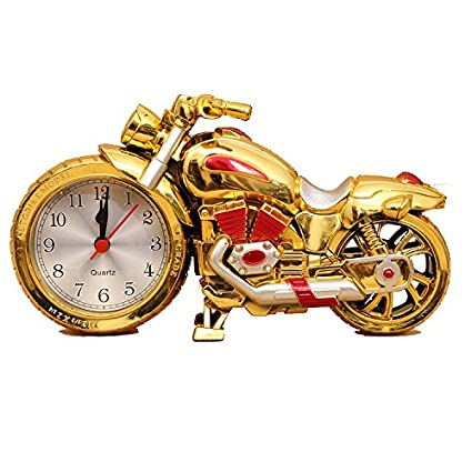 Motorcycle Alarm Clock of Luxury Retro Style, Creative Artistic Motorbike Desk Clock Model for Household Shelf Decorations, Unique Eye-Catching ...