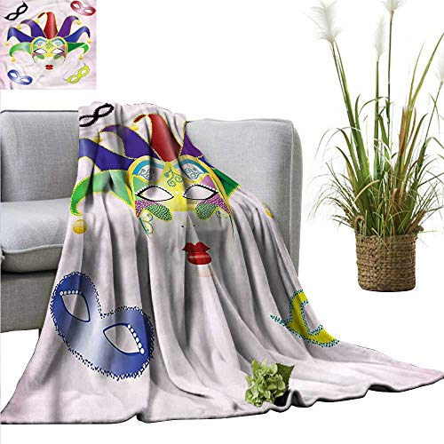 (WinfreyDecor Throw Blanket Machine Washable Masquerade for Chair Christmas Carnival Mask 60