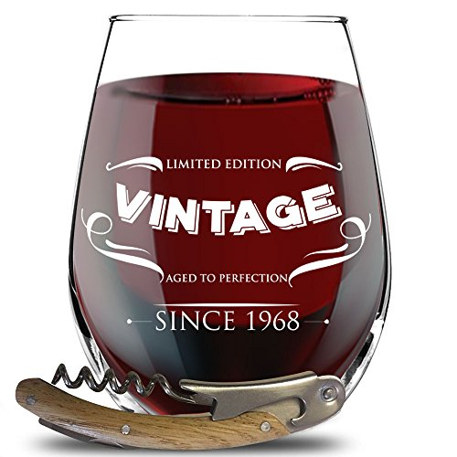 1968 50th Birthday Gifts for Women, Men - Funny Party Decorations for 50 Years Old - Stemless Wine Glass For Her, Him, Husband or Wife - Vintage 50th Anniversary Gifts For Dad And Mom + Bottle Opener