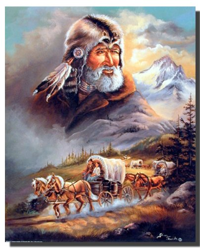 Western Covered Wagon Cowboy Stagecoach Picture Wall Decor Art Print Poster (16x20)