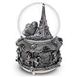 "Paris Snow Musical Globe with Color Changing LED Lights, Eiffel Tower Snow Globe with Merry-go-round Base, 100mm 6"" Tall Souvenirs Collection … (Silver)"