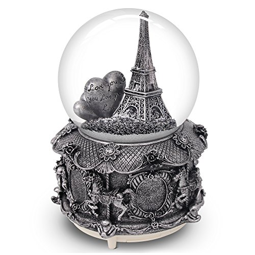 QTKJ Paris Snow Musical Globe with Color Changing LED Lights, Eiffel Tower Snow Globe with Merry-go-Round Base, 100mm 6